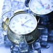 The time has come - alarm clock and ice — Stock Photo #3821760