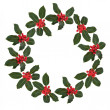 Holly Leaf and Berry Wreath — Stock Photo