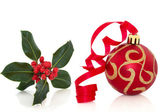 Christmas Bauble and Holly — Stock Photo