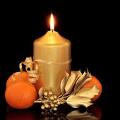 Christmas Candle, Holly and Fruit — Stock Photo
