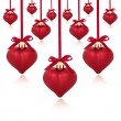 Red Heart Baubles — Stock Photo