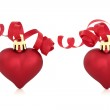 Christmas Red Heart Baubles — Stock Photo