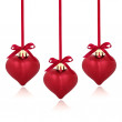 Red Heart Christmas Baubles — Stock Photo
