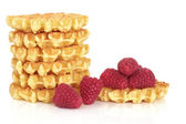 Waffles and Raspberry Fruit — Stock Photo