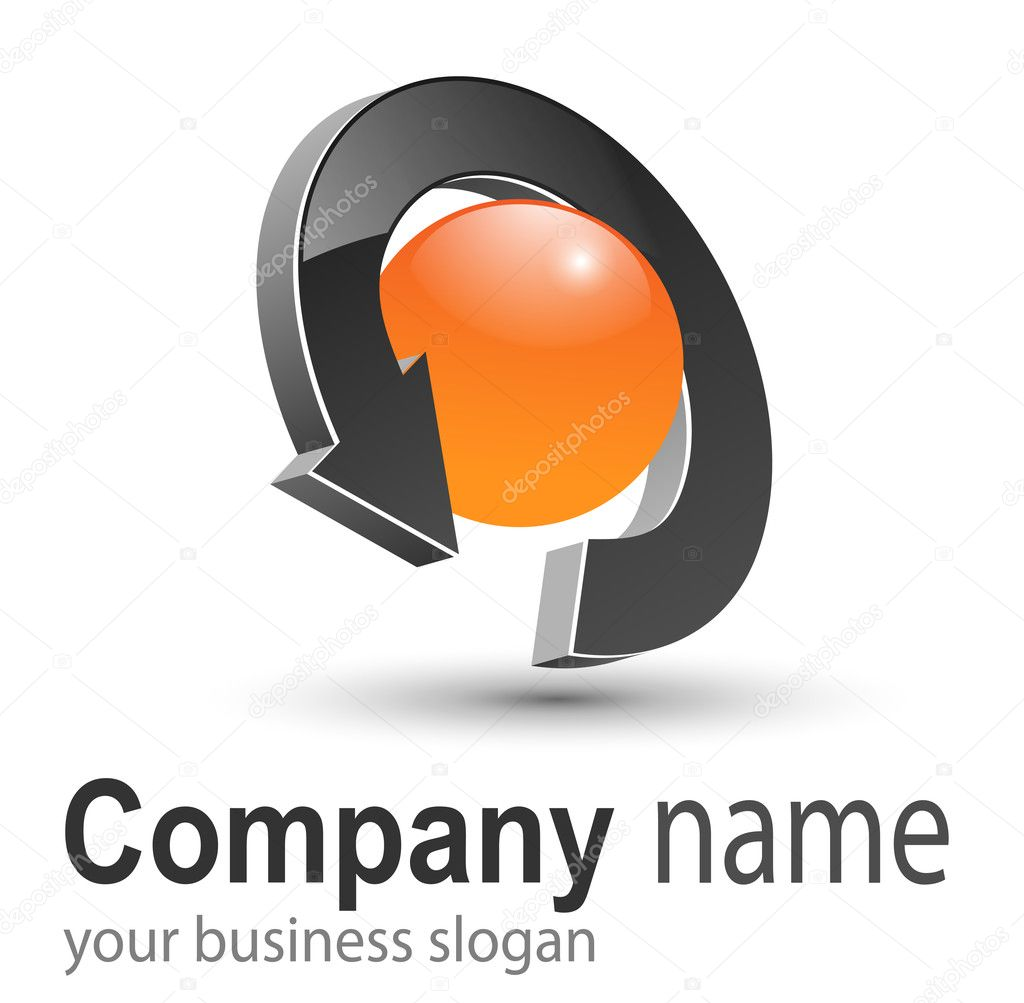 Business logo, 3D arrow and circle orange and black, vector. — Stock Vector #2781446