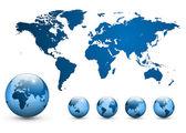 Mappa del vettore del mondo. — Vettoriale Stock