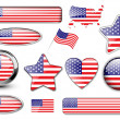 Stock Vector: USA, North American flag buttons