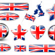 England, United Kingdom flag buttons — Stock Vector