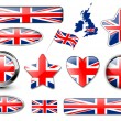 England, United Kingdom flag buttons — Imagen vectorial