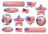 Abd, kuzey amerikan bayrağı düğmeleri — Stok Vektör