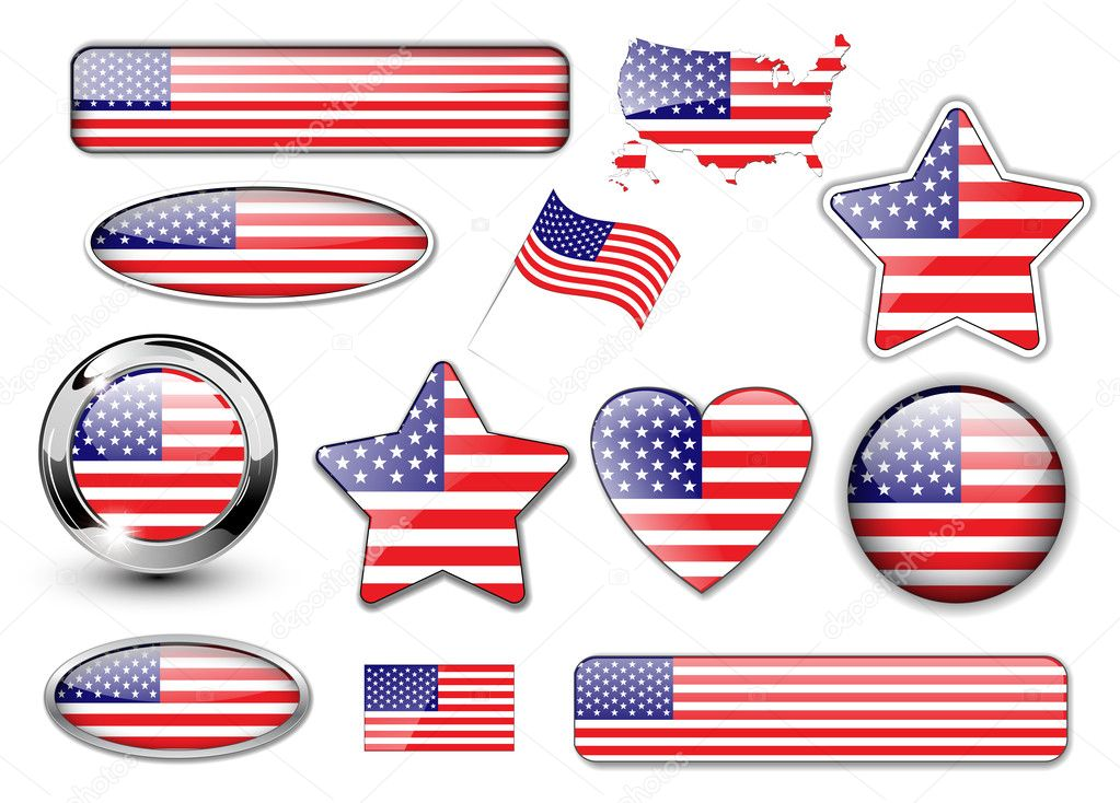 USA, North American flag buttons great collection, high quality vector illustration. — Stock Vector #2813221