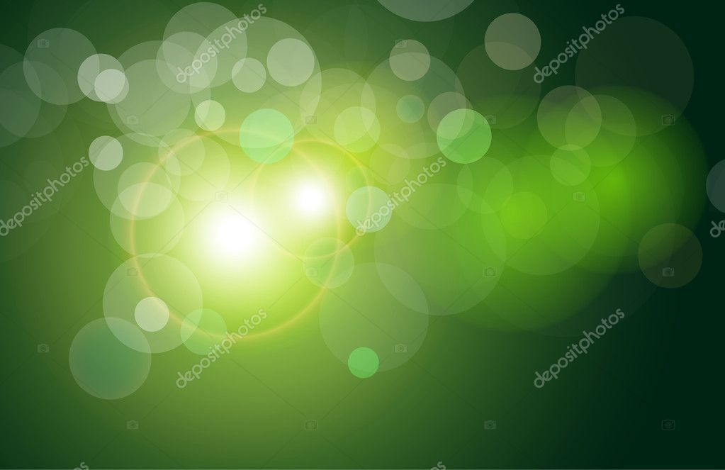 Vector background green and fresh magical lights, bokeh — Stock Vector #2862272