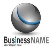 Logo metallic sphere — Stock Vector