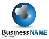 Logo niebieski kula błyszczący — Wektor stockowy