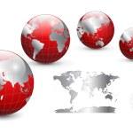 世界各地和世界地图 — 图库矢量图片