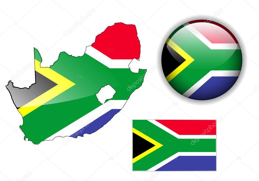 南非国旗, 地图和光泽按钮,矢量插图集– 图库插图