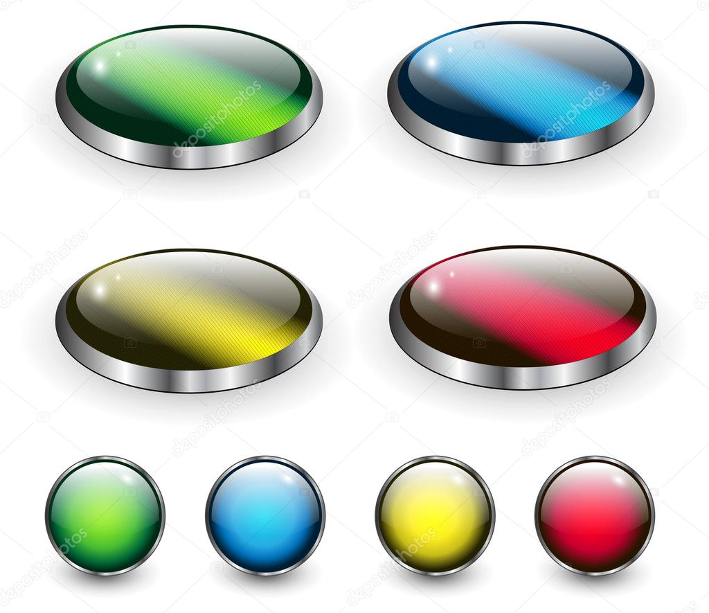 Glossy web buttons collection, vector. — Stock Vector #3461021