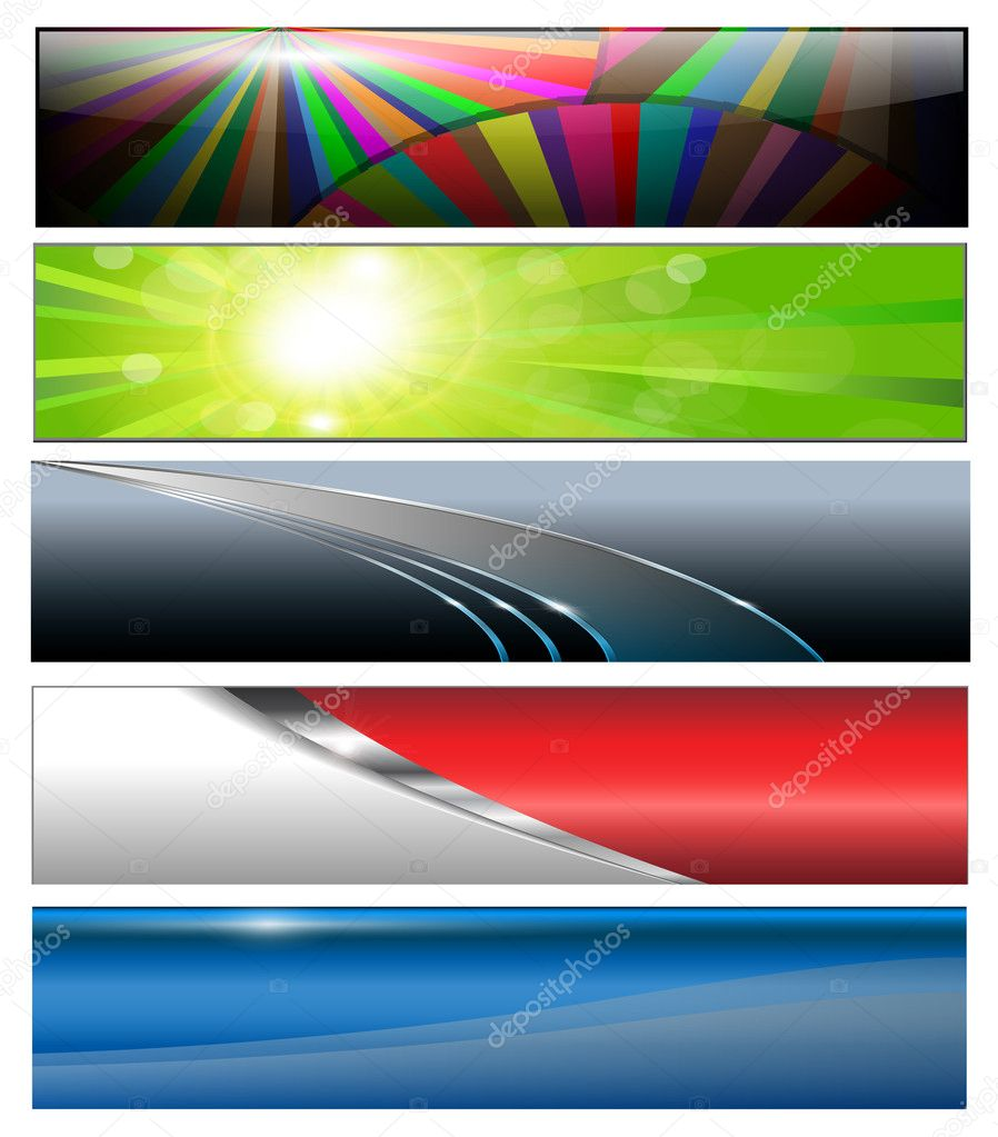 Banners, headers colorful collection, vector. — Stock Vector #3728953