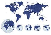 Mapa-múndi com globos de terra — Vetorial Stock