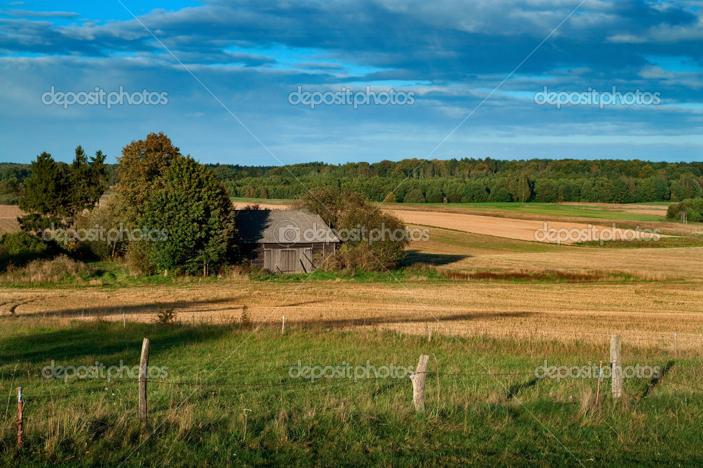  Scenic view on summer landscape in rural Poland with an old farmhouse.   Stock Photo #3873390