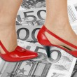 Shoes and money background — Stock Photo