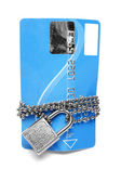 Card, chain and padlock — Stock Photo