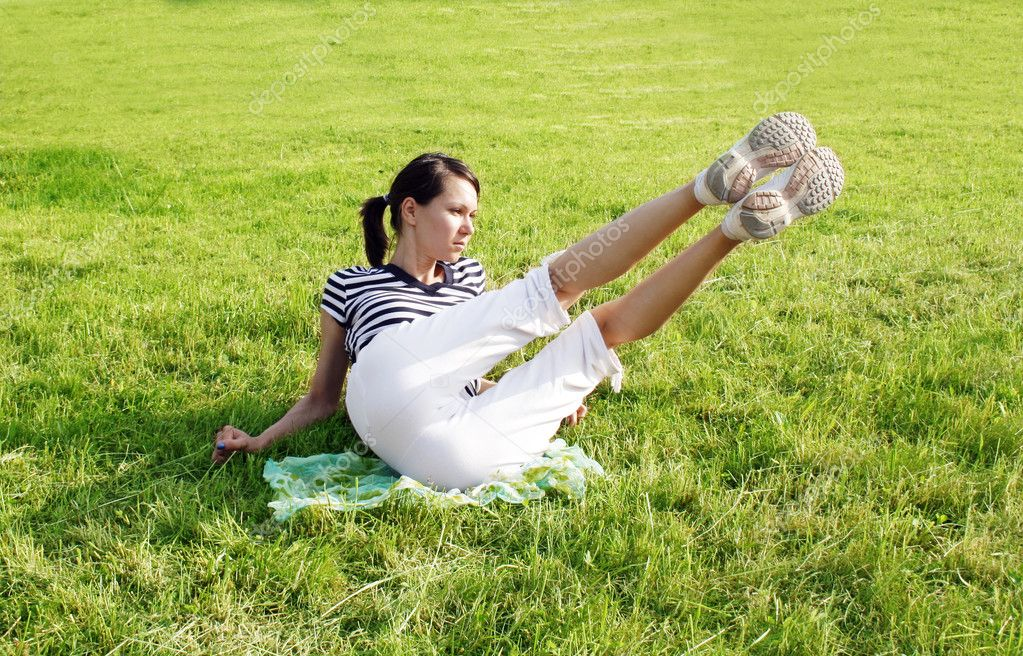 Active woman in the meadow  Stock Photo #3359067