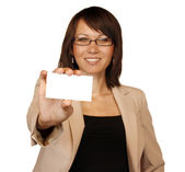 Businesswoman showing businesscard — Stock Photo