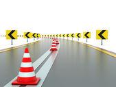 Strada con segni e coni di traffico — Foto Stock