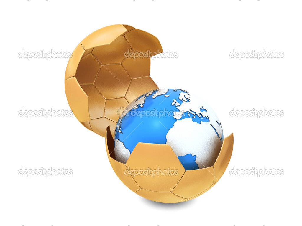 Earth and soccer ball isolated on white background — Stock Photo #2899890
