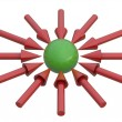 Green ball and red arrows — Stock Photo