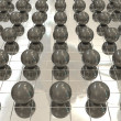 Stock Photo: Silver background and black balls