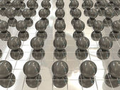 Silver background and black balls — Stock Photo