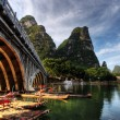 Stock Photo: Bamboo raft on Li river