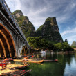 Bamboo raft on the Li river — Stock Photo