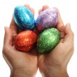 Holding four chocolate Easter eggs — Stock Photo #3364091