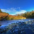 Mountain and river scenery - Stock Photo