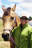 女骑乘马 — 图库照片