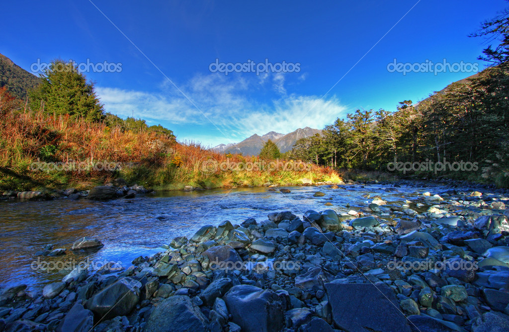 Spectacular mountain and river scenery in New Zealand — Photo #3367183