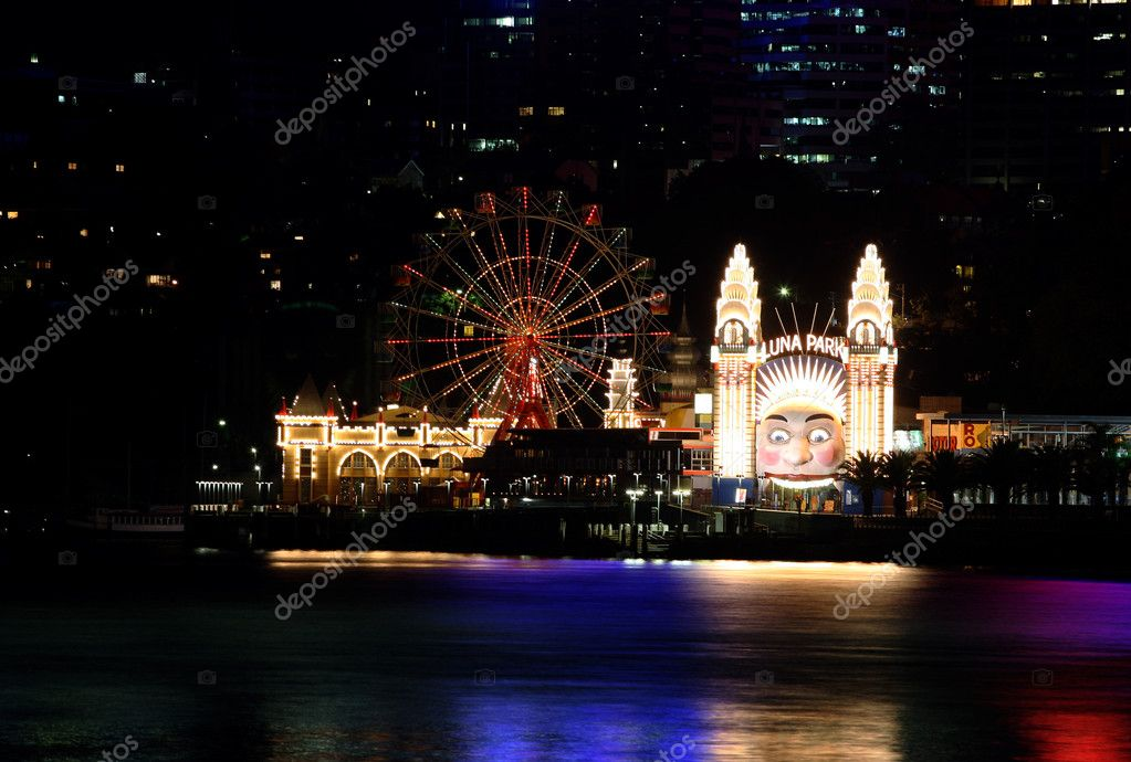 Sydney Luna Park at night light  Stock Photo #3369658