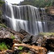 Waterfall on small forest river in Ontario - Stock Photo