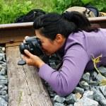 Girl photographer — Stock Photo #3370437