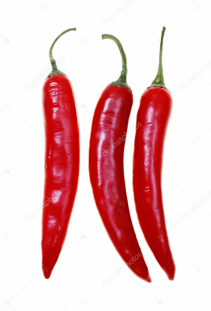 Red hot chilli peppers isolated on white background  Stock Photo #3370159