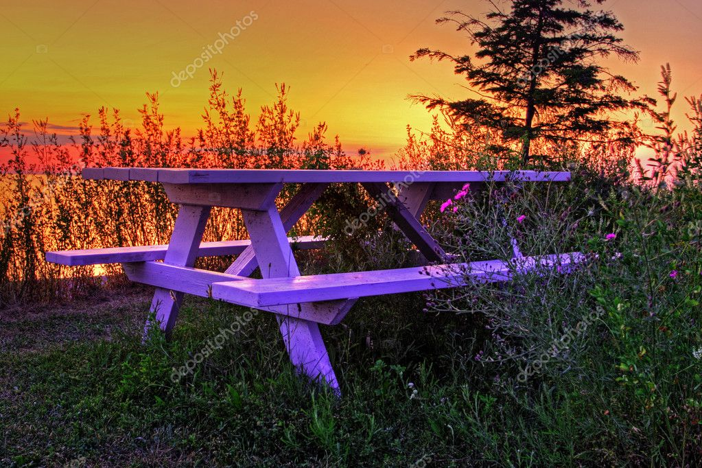 Lakeside bench in Lake Huron — Stock Photo #3370628
