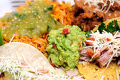 Carnitas With Rice And Refried Beans — Stock Photo