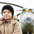 Boy and helicopter — Stock Photo