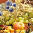 Autumn arrangement with fruits and veget - Stock Photo