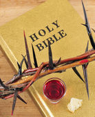 Crown of thorns on a bible — Stock Photo