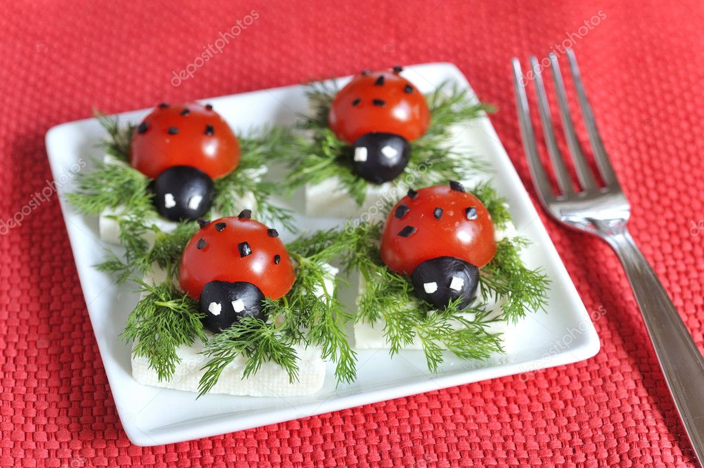 Ladybug tomato and olive with cheese  Stock Photo #2738513