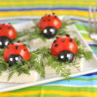 Ladybug tomato and olive with cheese — Stock Photo #3465063
